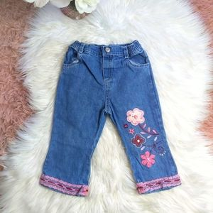 5 / $20 Girls 12-18 Month Floral Embroidered Jean